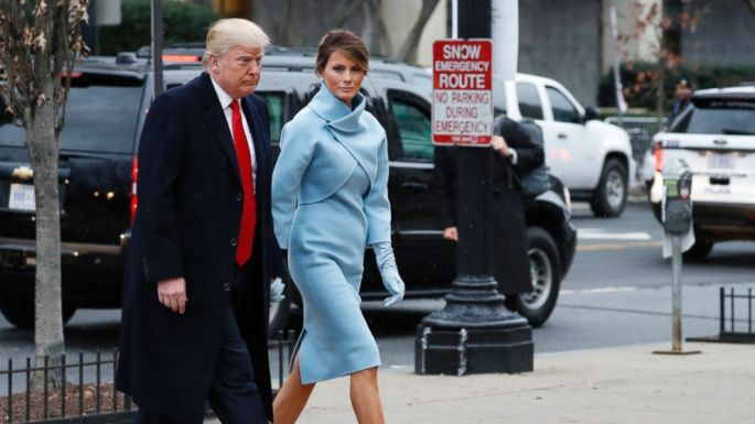PHOTO: President-elect Donald Trump and his wife Melania arrives for a church service at St. John's Episcopal Church across from the White House in Washington, Jan. 20, 2017, on Donald Trump's inauguration day.