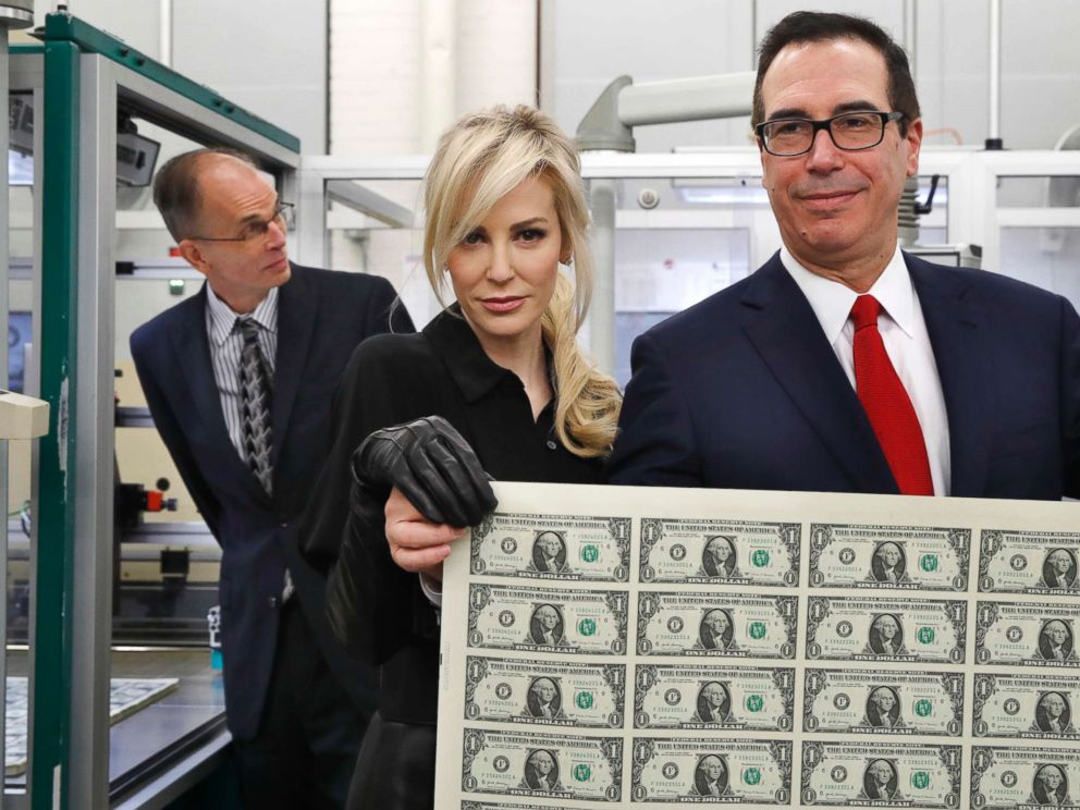 Image result for Treasury Secretary Steven Mnuchin and his wife posing with money