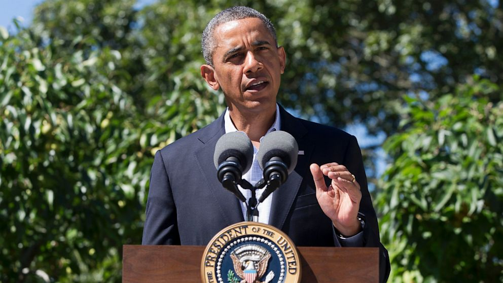 President Barack Obama makes a statement to the media regarding events in Egypt, from his rental vacation home in Chilmark Mass., on the island of Martha's Vineyard, on Aug. 15, 2013.