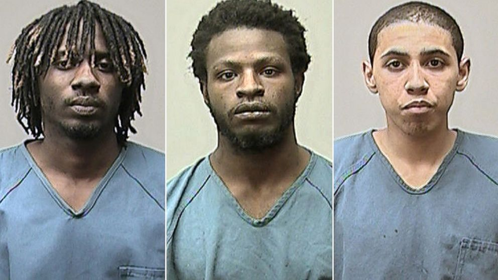 PHOTO: Eric D. Bass, Michon A. Thomas and Kristopher J. Hughes are seen in undated police photos.