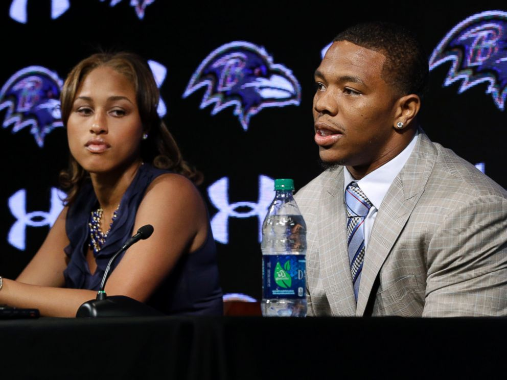 PHOTO: In this May 23, 2014, file photo, Baltimore Ravens running back Ray Rice, right, speaks alongside his wife, Janay, during a news conference at the teams practice facility in Owings Mills, Md.