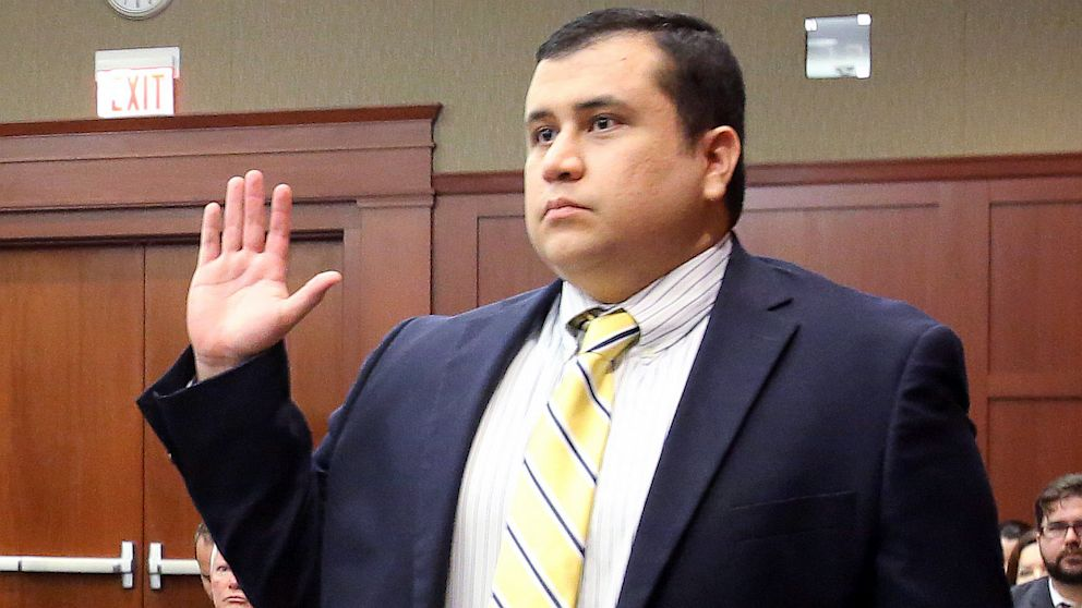 George Zimmerman, defendant in the killing of Trayvon Martin, is sworn in as a witness in Seminole circuit court for a pre-trial hearing April 30, 2013 in Sanford, Fla.