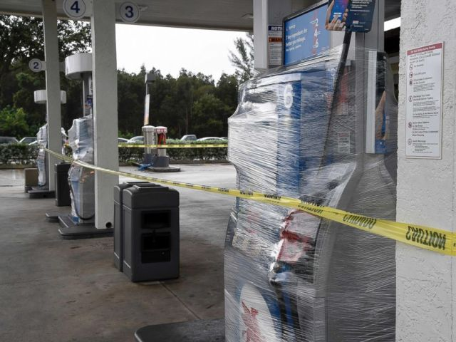 PHOTO: A gas stations pumps are wrapped and closed as many stations are out of gas, Oct. 6, 2016, in Miami.