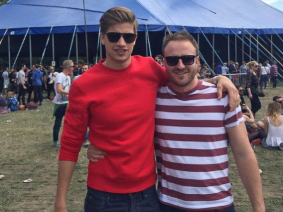PHOTO: British fashion model Toby Huntington-Whiteley wears the Tom Cridland 30 Year Sweatshirt in Chili Red.