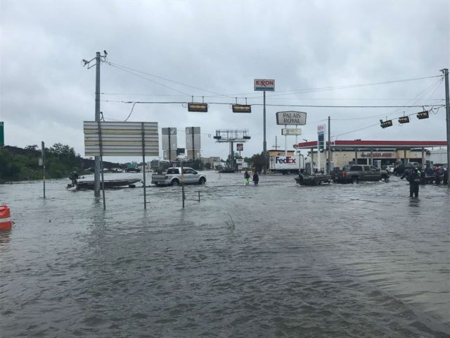 PHOTO: Volunteers from all over the country are seen traveling to Orange, Texas, where they will launch their private boats toward Beaumont and Port Arthur to save victims affected by the widespread flooding.