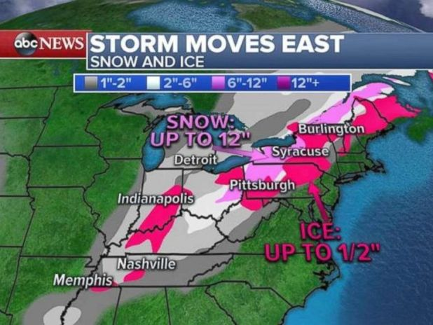 Snow and ice will bring treacherous conditions to the Great Lakes and Midwest.