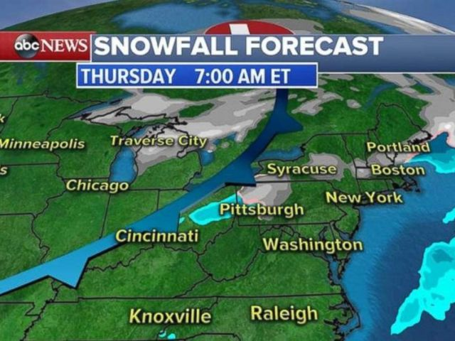 A system is moving through the Midwest and Great Lakes on Thursday morning, bringing snow.