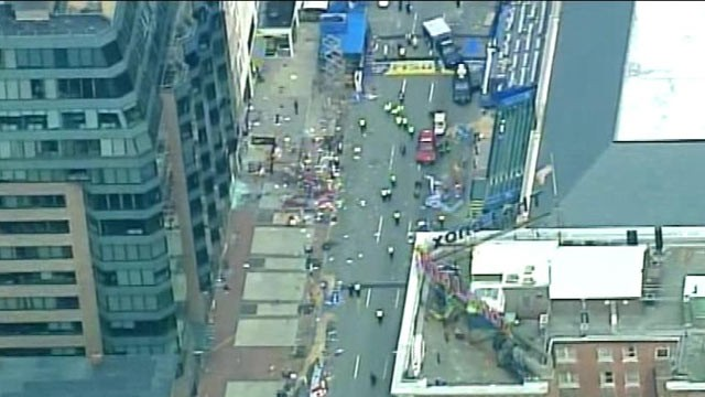 PHOTO: A scene of the Boston Marathon, where explosions were reported near the finish line of the race on April 15, 2013.