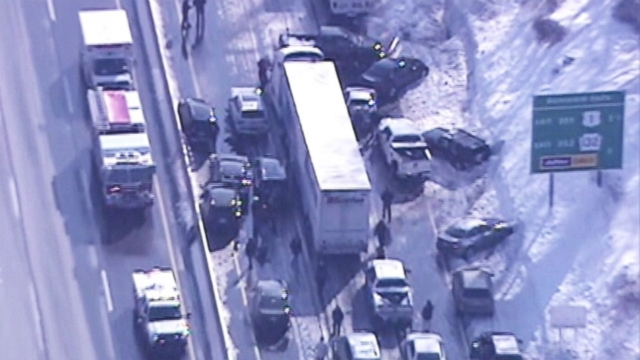 "VIDEO: Police are saying a ""major chain reaction"" of vehicles led to multiple injuries on the Pennsylvania Turnpike."