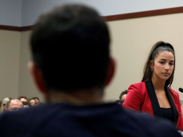 PHOTO: Victim and former gymnast Aly Raisman speaks at the sentencing hearing for Larry Nassar, a former team USA Gymnastics doctor who pleaded guilty in November 2017 to sexual assault charges, in Lansing, Mich., Jan. 19, 2018.