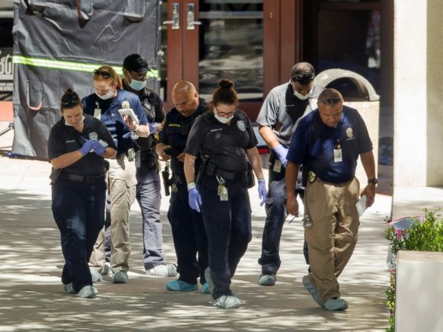 PHOTO: Officials investigate after a fatal stabbing attack at the University of Texas campus, May 1, 2017, in Austin, Texas.