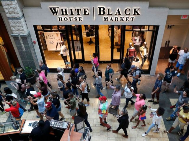 PHOTO: Protesters march through West County Mall in response to a not guilty verdict in the trial of former St. Louis police officer Jason Stockley Saturday, Sept. 16, 2017, in Des Peres, Mo.
