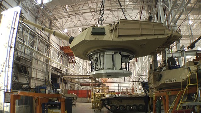 PHOTO: This undated file photo provided by the General Dynamics Land System shows the production of an Abrams tank in Lima, Ohio.