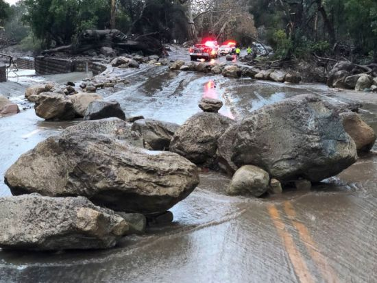 PHOTO: Mud and debris flow on the roadway due to heavy rain in Montecito. Calif., Jan. 9, 2018.