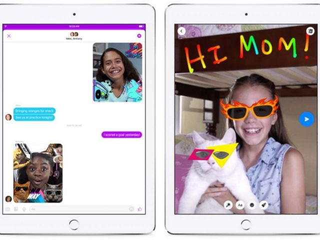 PHOTO: Facebooks Messenger Kids app includes photo, video and text messaging and added features like emojis, masks and sound effects.