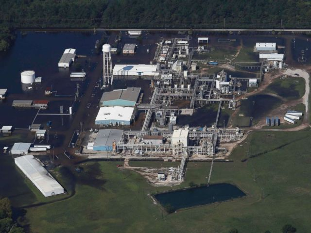 PHOTO: The flooded plant of French chemical maker Arkema SA, which produces organic peroxides, is seen after fires were reported at the facilty in Crosby, Texas, Aug. 31, 2017.