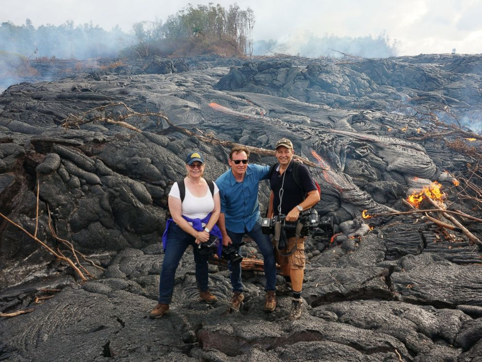 PHOTO: The ABC News crew stands by the lava flow in Hawaii.