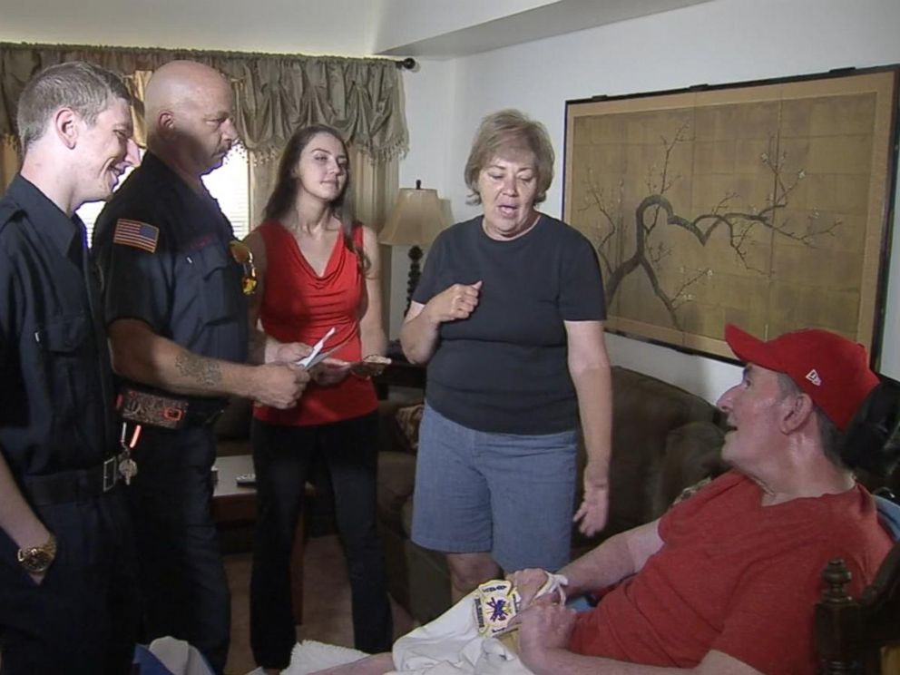 PHOTO: Firefighters Tim Young and Paul Hullings met waitress Liz Woodwards father, Steve, Sunday.