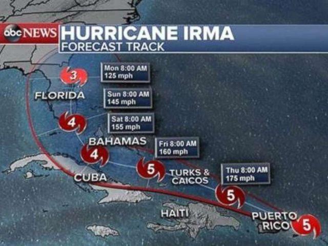 PHOTO: Hurricane Irma forecast track as of 2 p.m. Sept. 6, 2017.