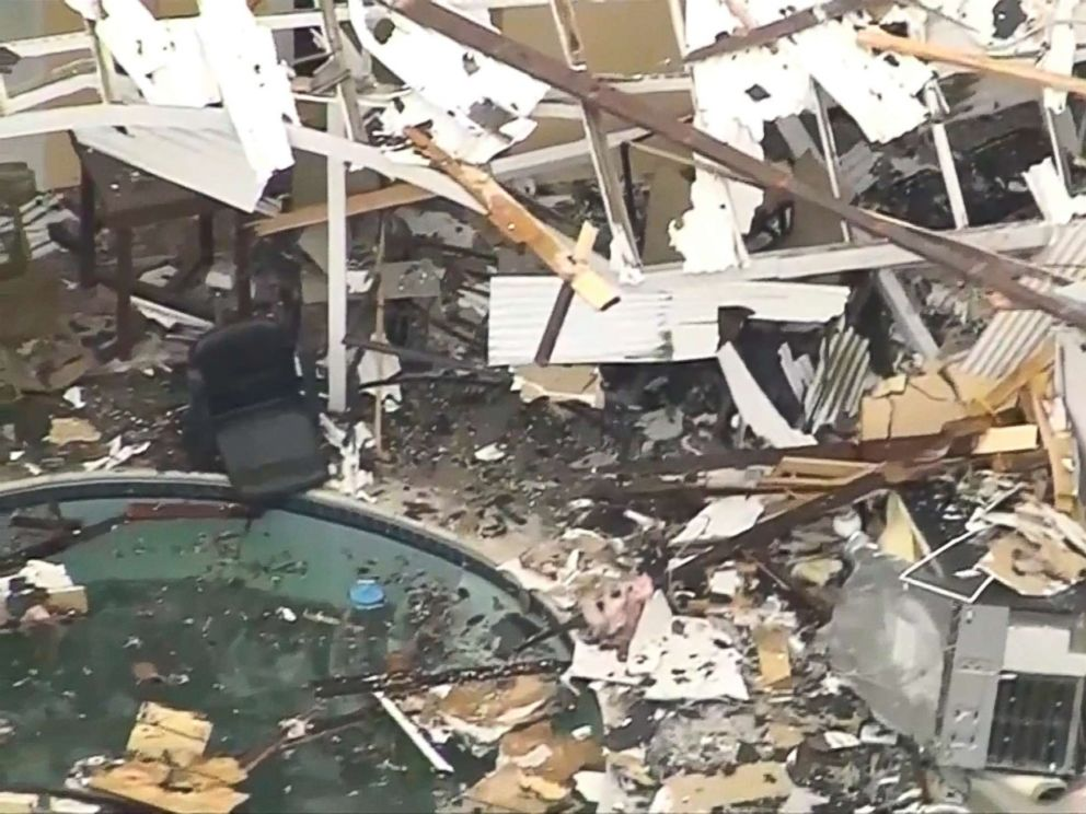 PHOTO: A close-up view of the scattered debris after a home exploded on Sept. 20, 2017, in western Los Angeles.
