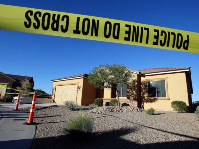 PHOTO: This Oct. 2, 2017 file photo shows police tape blocking off the home of Stephen Craig Paddock in Mesquite, Nev.