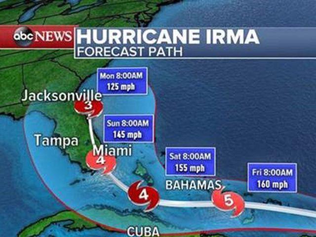 PHOTO: Hurricane Irma forecast path as of 11:00 a.m. ET, Sept. 6, 2017.