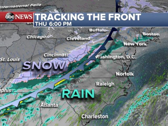 PHOTO: On Thursday a cold front is expected to move east with rain, snow, and cold temperatures behind it.