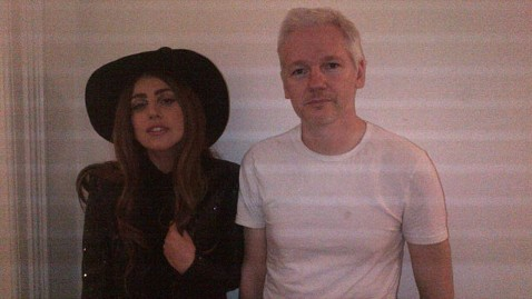 ht lady gaga julian assange lpl 121009 wblog Lady Gaga Dresses Like a Witch to Meet Julian Assange