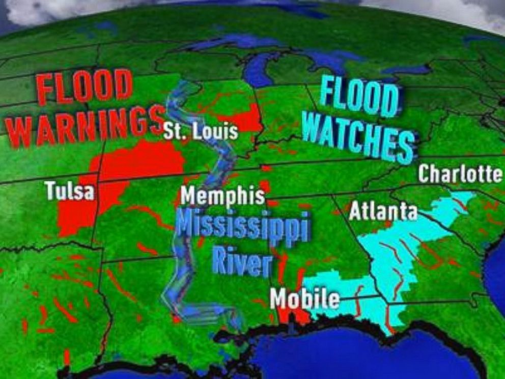 PHOTO: Nearly 40 river gauges are in a major flood stage from Texas to Illinois, while parts of the South experiencing some flooding after the storm system moved east.