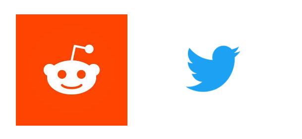 reddit,twitter logos