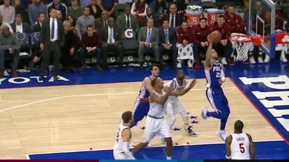 Image result for ben simmons dunking over lebron picture