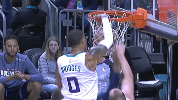 Bridges flies over defenders for putback slam