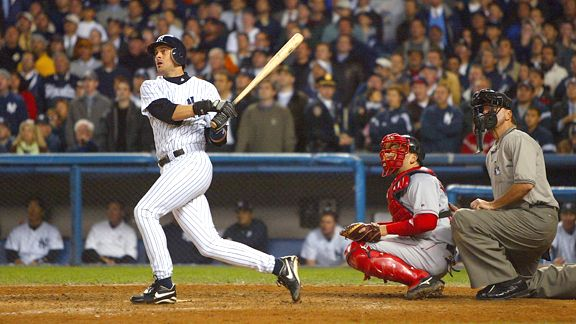 Image result for photo of aaron boone home run