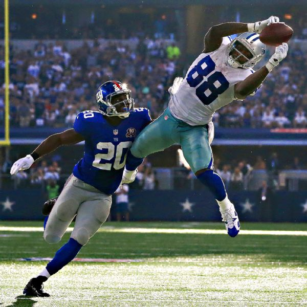 Dez Bryant catching a pass against the Giants. In 9 games last season Bryant struggled, catching not even 50 percent of his targets and averaged a mere 44 yards per game.