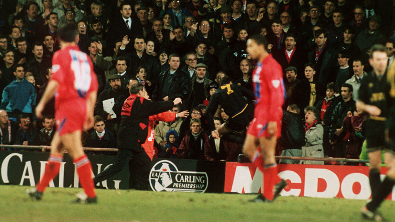 The match, played between teams in bangalore, provokes visions of eric cantona.soccer player tries to kick referee after giving yellow card referee runs. When Manchester United S Eric Cantona Attacked A Fan In 1995