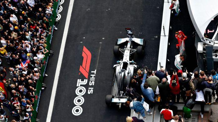 Podium of the Chinese Grand Prix 2019: Hamilton, Bottas and Vettel.