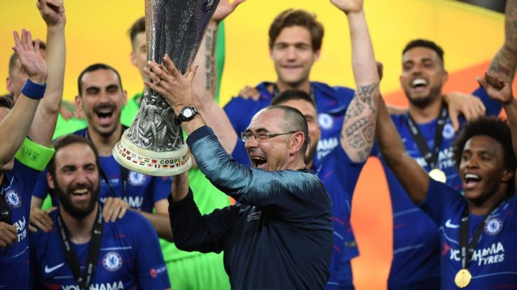 Maurizio Sarri lifts the Europa League trophy after Chelsea defeated Arsenal in the final in Baku.
