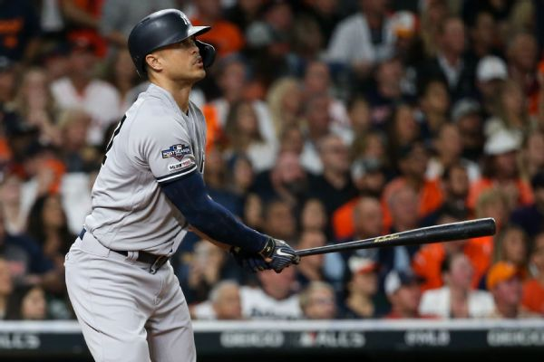 Stanton (quad) sits in Game 4 as Yankees fall