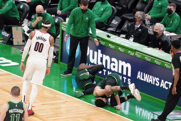 Celtics stars Brown, Tatum injured after colliding