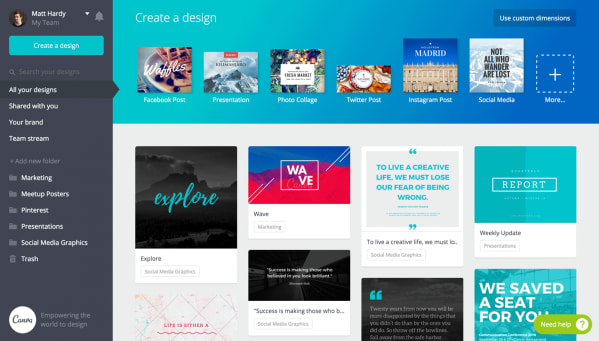 Samsung creative apps Canva