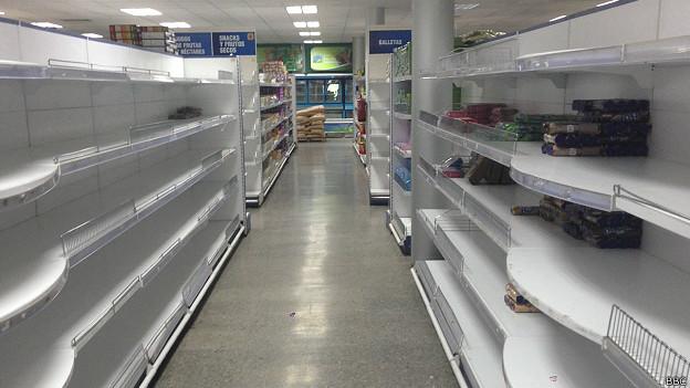 Estantes vacíos en supermercado cubano