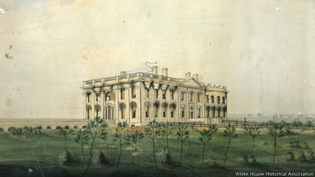 The President's House was left a gutted ruin; the walls still 'white except for great licks of soot that scarred the sockets that had been windows.' President's House by George Munger, ca. 1814-1815. White House Historical Association (White House Collection)