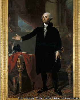 Gilbert Stuart's 1797 portrait of George Washington, saved by Dolley Madison's order, was taken down and reframed to better preserve it in 2004. Erik Kvalsvik for the White House Historical Association