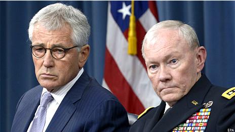 Ngoại trưởng Mỹ Chuck Hagel và tướng Dempsey