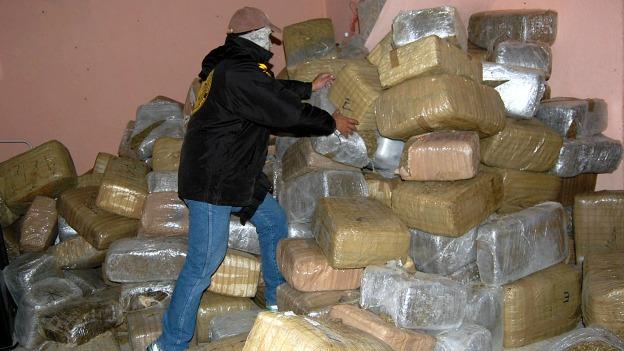 Marihuana apilada en Nuevo Laredo, Tamaulipas