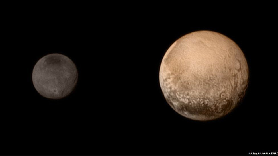Plutón y una de sus lunas, Caronte.