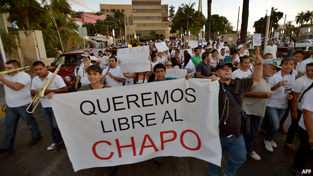 Marcha a favor del Chapo Guzmán tras su detención en febrero de 2014