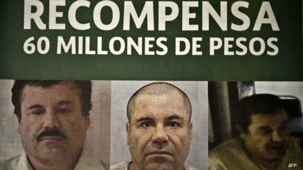 Cartel de recompensa por Joaquín Guzmán Loera, El Chapo.