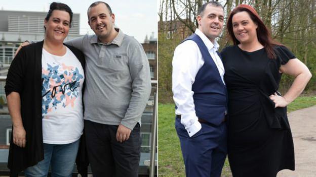 Celena y Pete antes (izquierda) y después (derecha) de estar 10 meses separados.