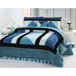 Shop Senoures 6 Piece Velour Comforter Set Velvet Green Blue White King Online In Dubai Abu Dhabi And All Uae